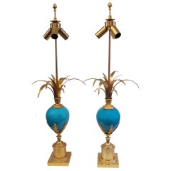 1970' Pair Of Lamps in the Style Of Maison Charles With Blue Opaline