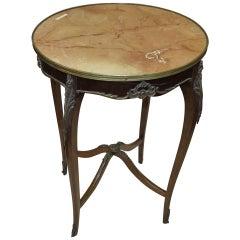 Louis XV Style Pedestal Table, Marble Flower Sin