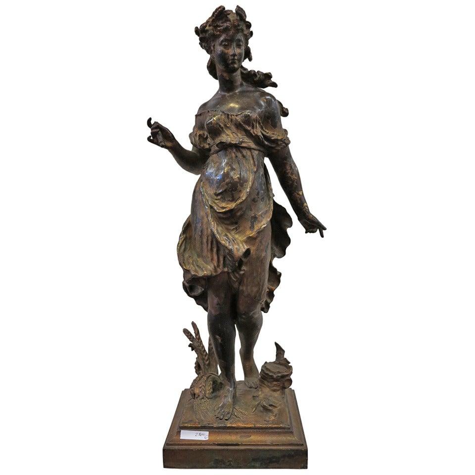 1880' Bronze Statue of Woman Signed Moreau