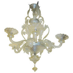 Chandelier Murano Crystal with Six Lights, 1950-1970