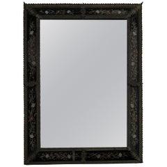 1880 Mirror Napoléon 3 Bronze Frame  Enamelled on Colored Black Glass