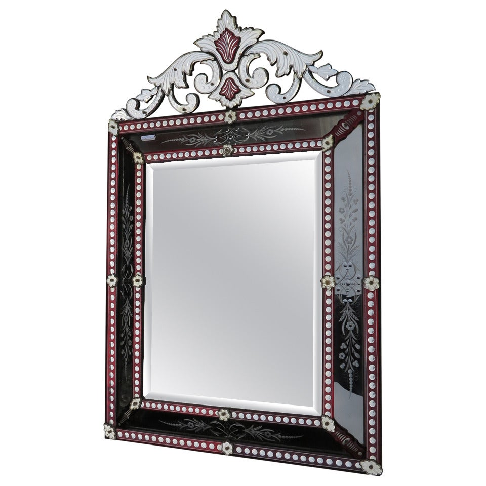 Venitien Mirror with Front Wall Style LXIV Red Color Bohéme