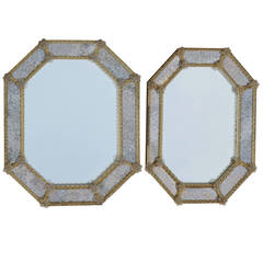 Pair of Octagonal Mirrors Veronése with Parecloses and Oxidized Mirror
