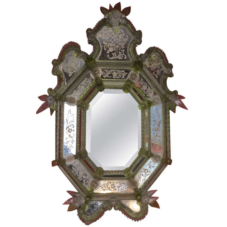 19th Century Green Murano Mirror