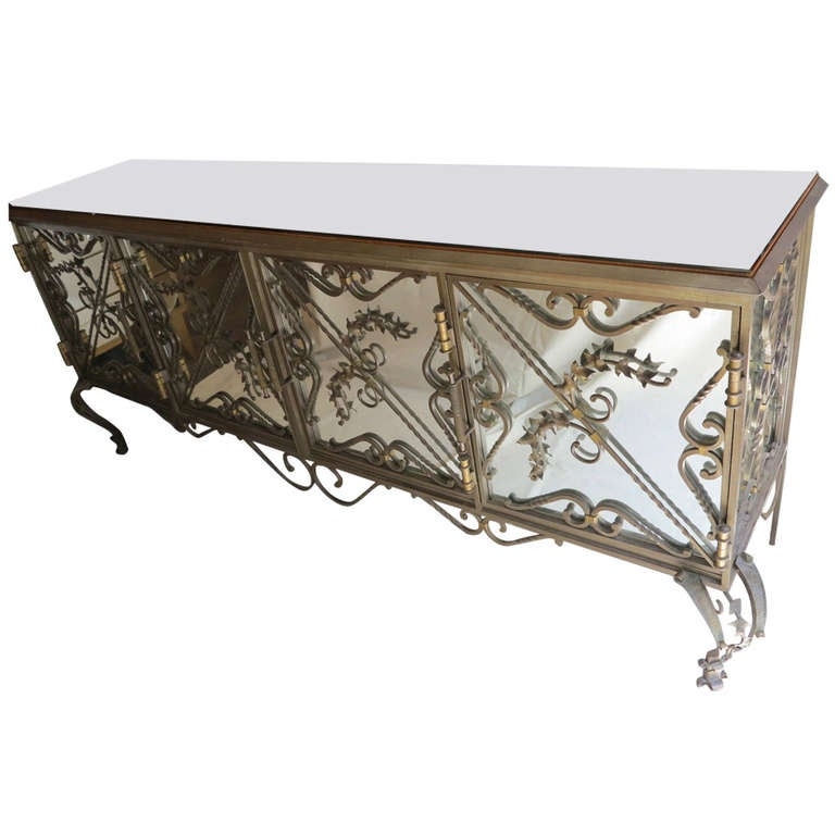 Wrought Iron And Wood Sideboards ~ Wrought iron and mirrors sideboard at stdibs