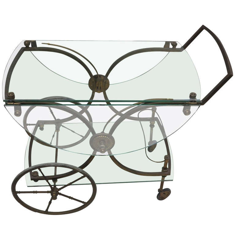 1970 Maison Bagues Bronze Bar Cart At 1stdibs