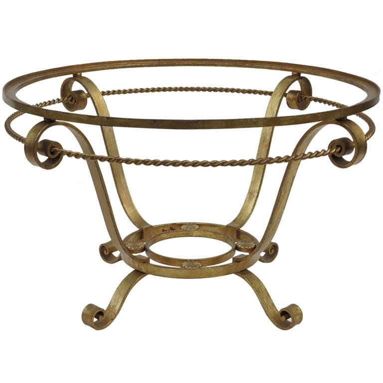 Wrought Iron Gilt Round Coffee Table At 1stdibs