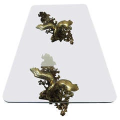 Gilt Bronze Eagles Coffee Table by Boeltz for Roméo Paris