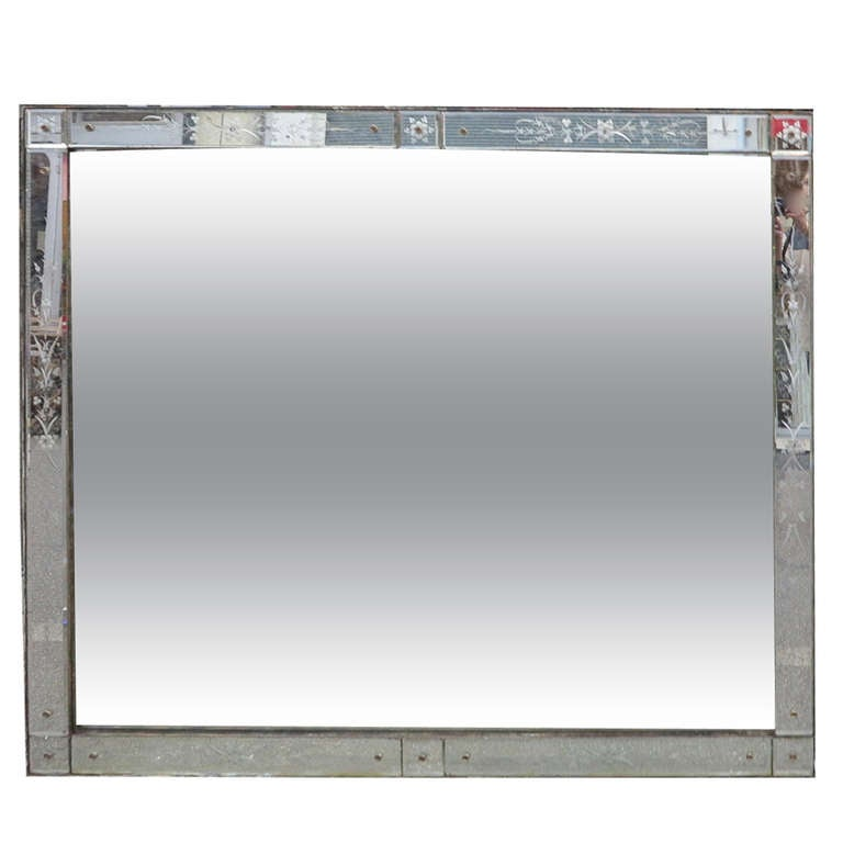 Venice Rectangular Mirror Decorated with Flowers