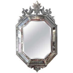 Octagonal Venetian Mirror With Crown