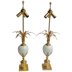 1970' Pair of Table Lamps in the Style of Maison Charles With White Opaline