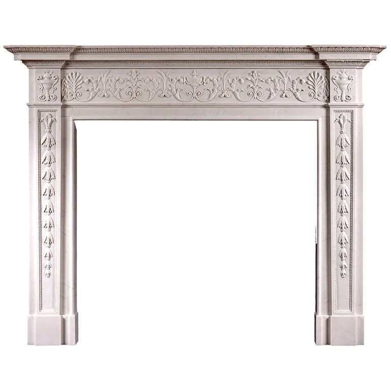 A georgian style white marble mantel piece for sale at 1stdibs for Marble mantels for sale