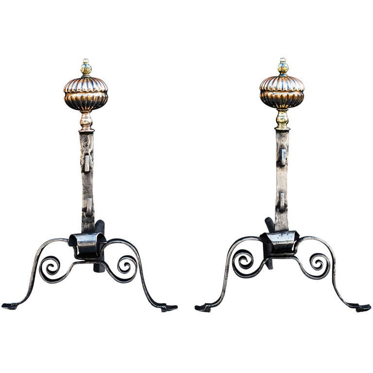 Pair of 18th Century English Andirons For Sale