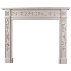 18th Century Style Carved White Marble Mantel Piece