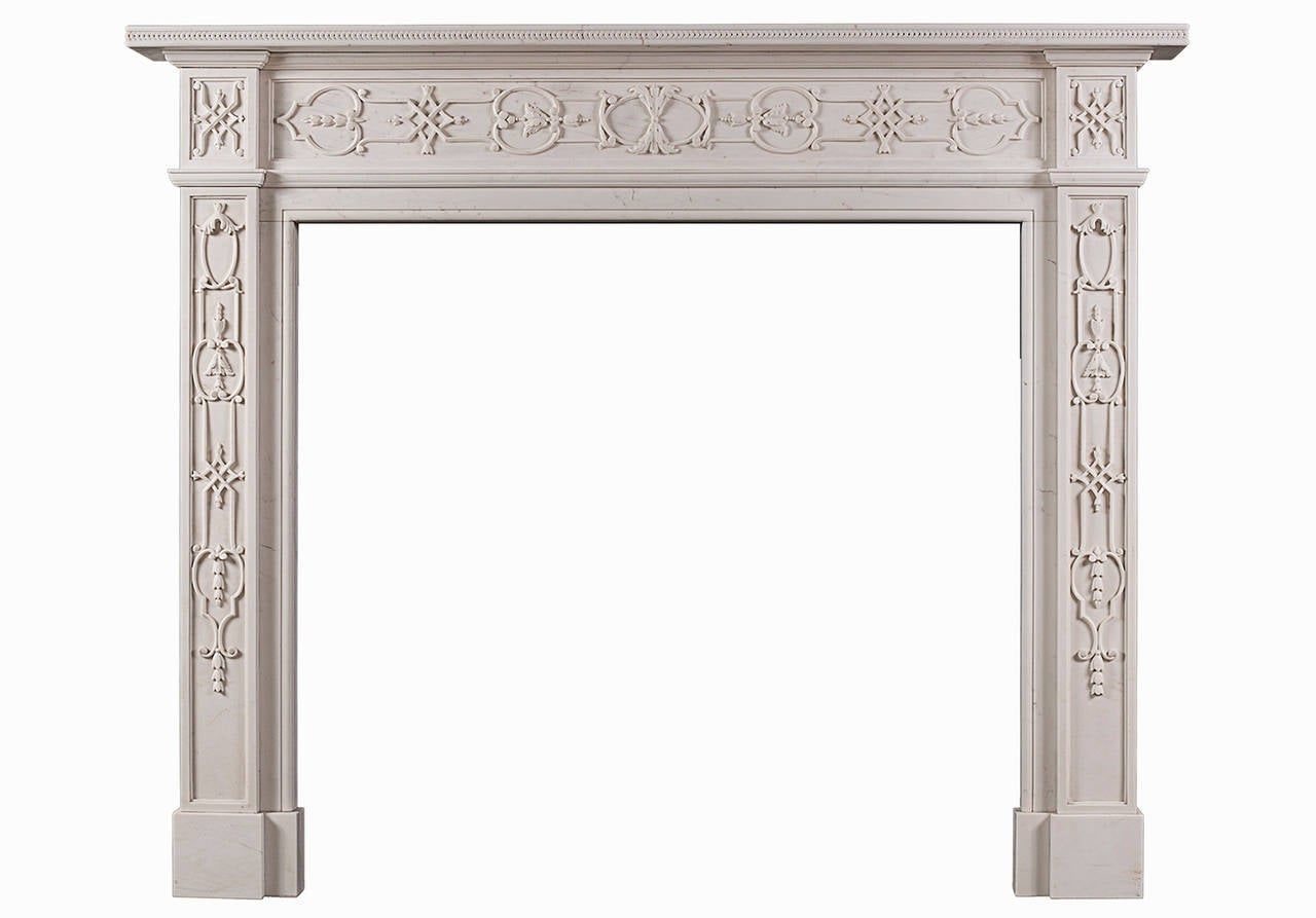 An 18th century style carved white marble mantel piece for sale at 1stdibs - Fireplace mantel piece ...