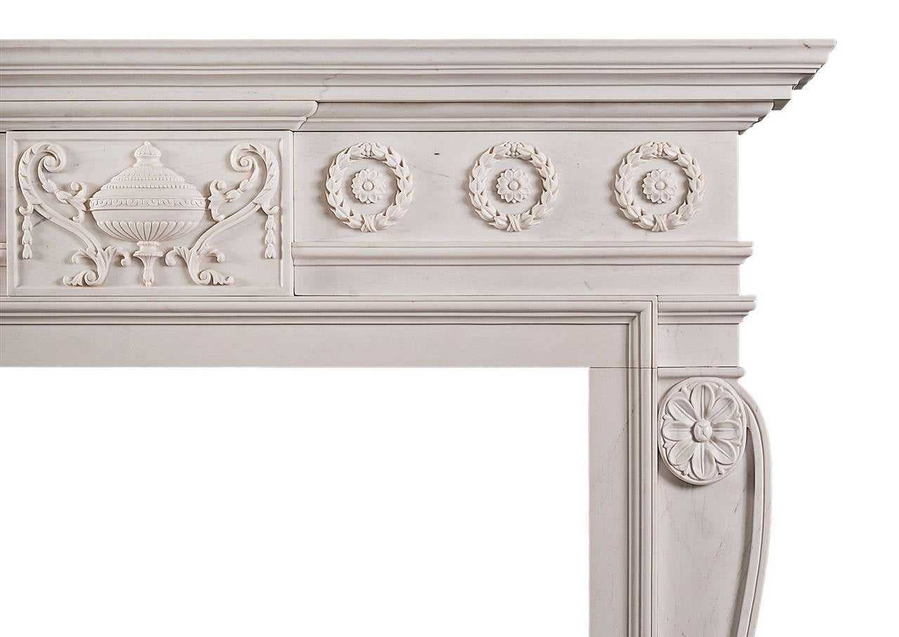late georgian style carved chimneypiece mantel in white marble for