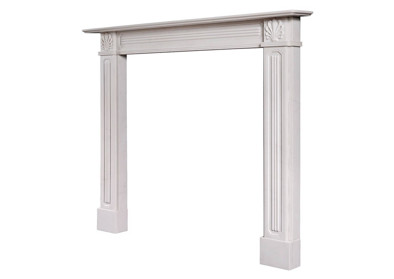 Regency style white marble fireplace mantel for sale at for Marble mantels for sale