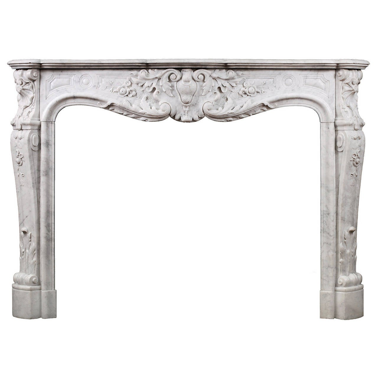 Fine Quality Carved French Louis XV Carrara Fireplace Mantel