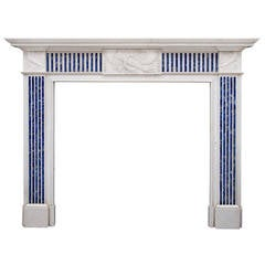 English Statuary and Inlaid Princess Blue Marble Fireplace Mantel
