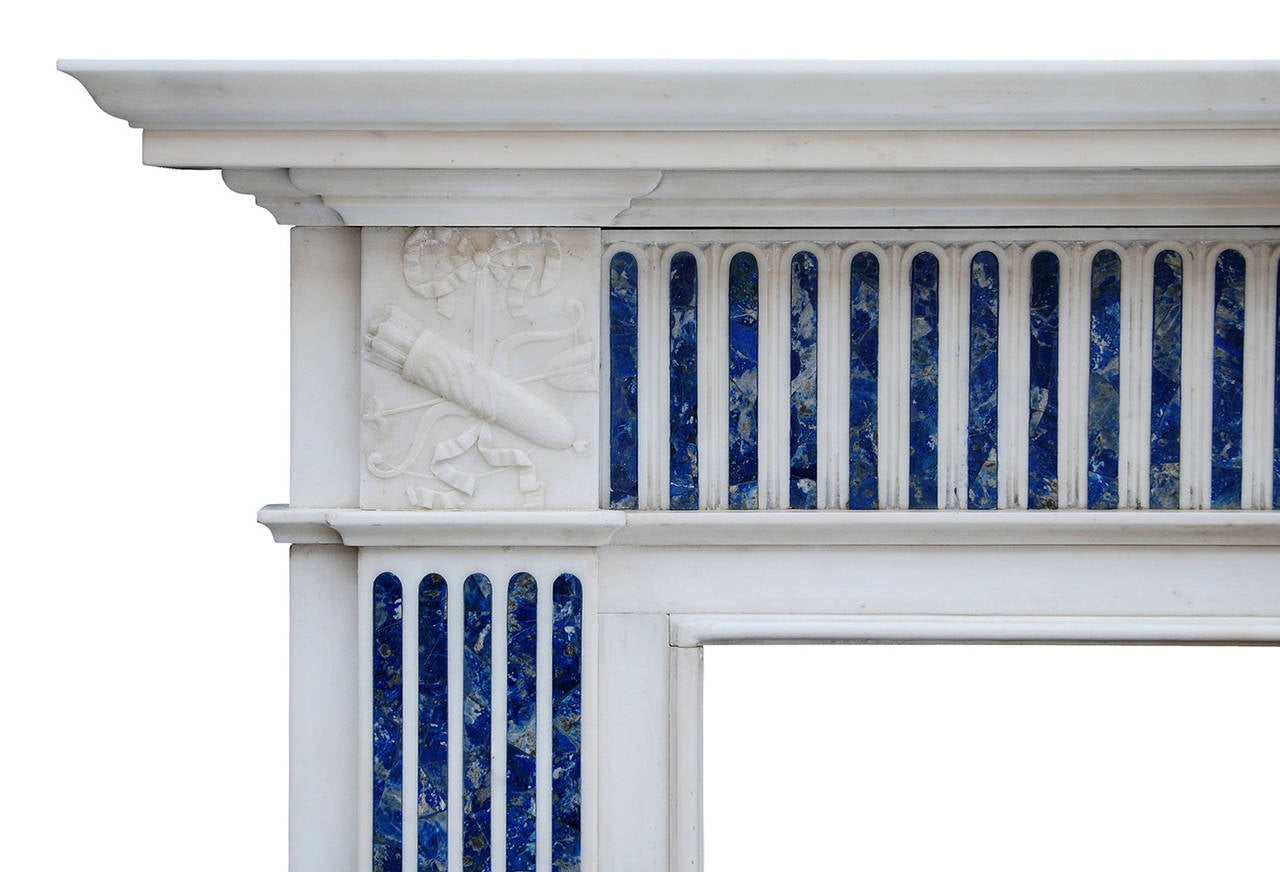 an english statuary and inlaid princess blue marble fireplace