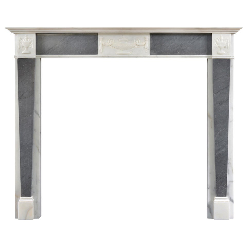 19th Century Regency Statuary Marble Mantel with Grey Bardiglio Inlay