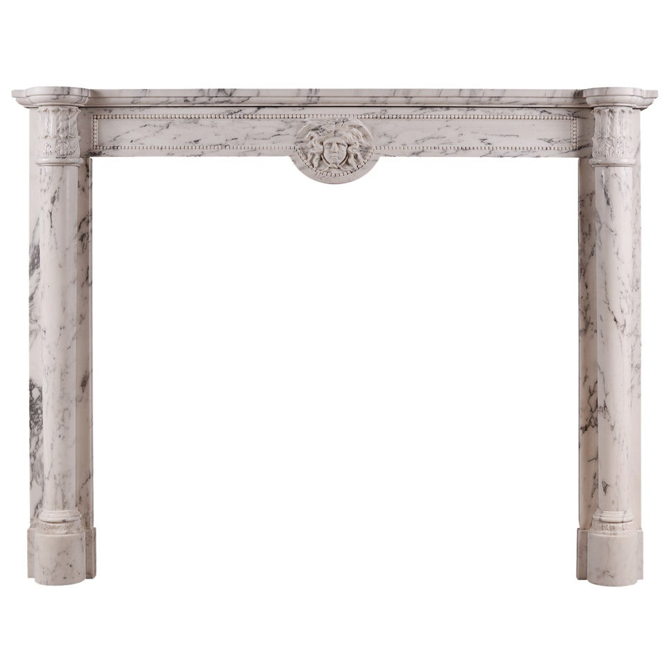 19th Century Veined Statuary Marble Mantel Piece