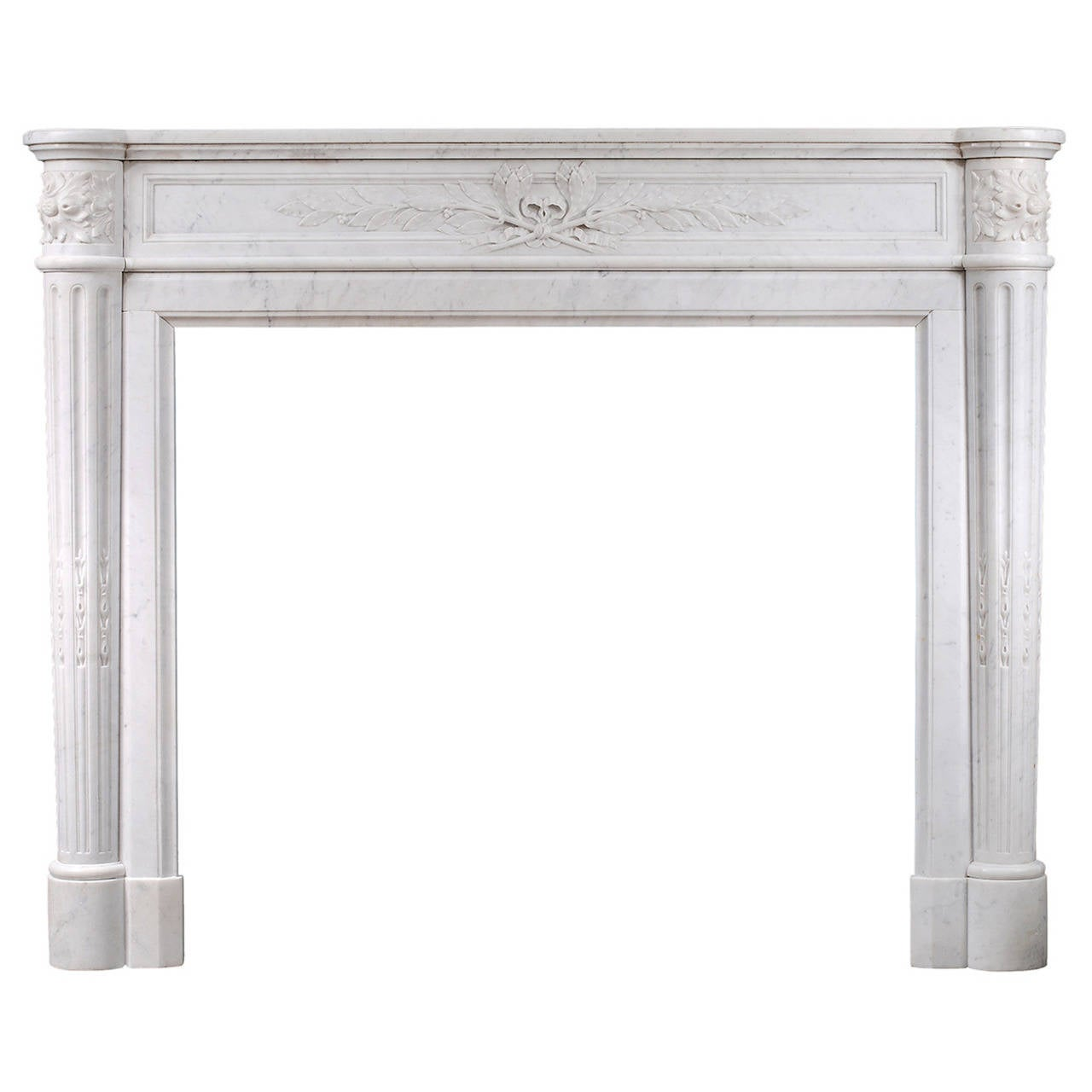 19th Century French Louis XVI Style Mantel Piece in Light Carrara Marble