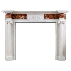 George III Style Antique Statuary Marble Fireplace Mantel