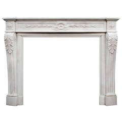 French Louis XVI Style Statuary Marble Chimneypiece Mantel