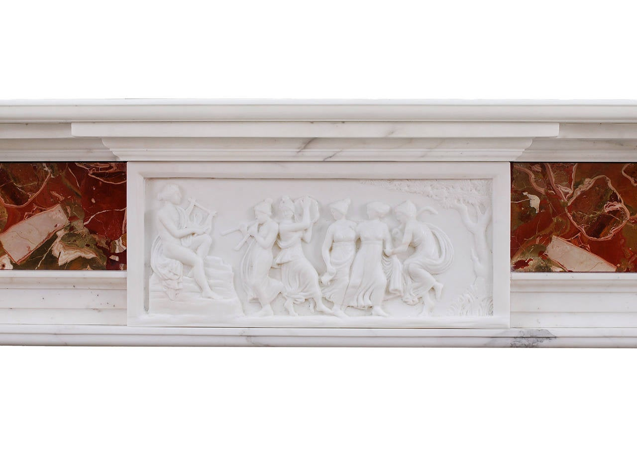 george iii style antique statuary marble fireplace mantel at 1stdibs. Black Bedroom Furniture Sets. Home Design Ideas
