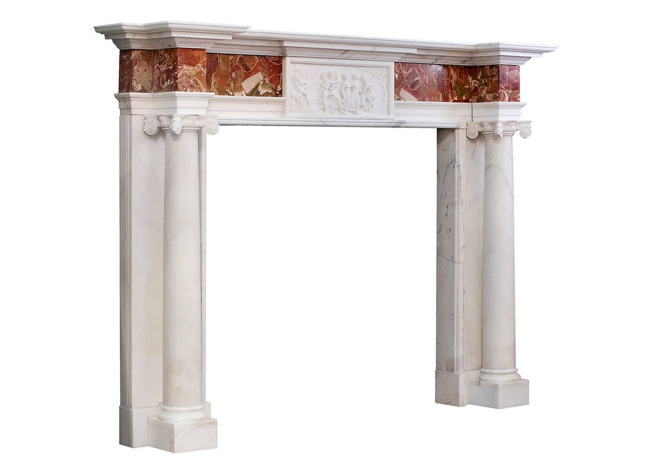 George iii style antique statuary marble fireplace mantel for Marble mantels for sale