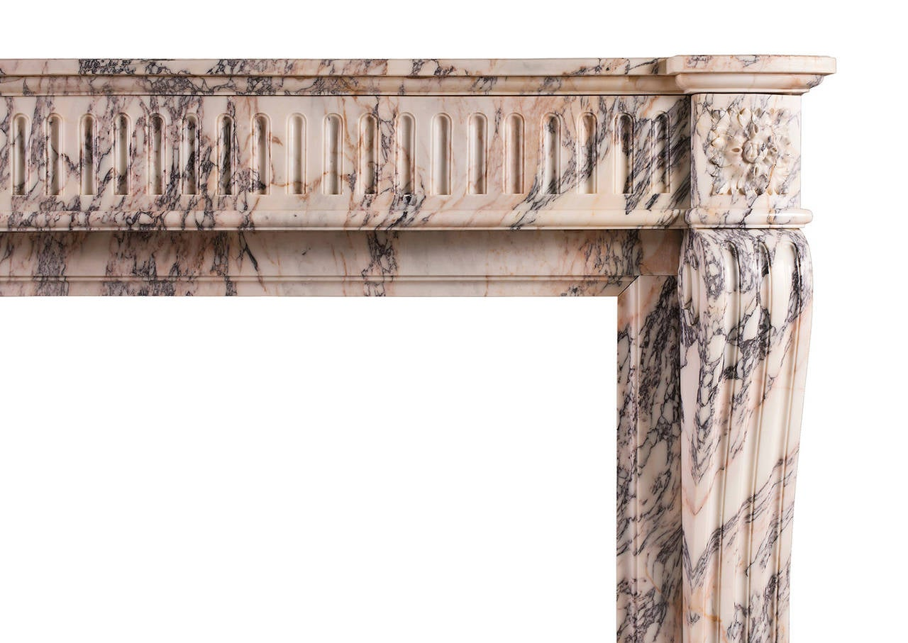 french louis xvi style breche violette antique marble fireplace