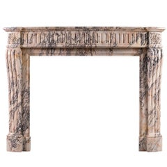 French Louis XVI Style Breche Violette Antique Marble Fireplace Mantel