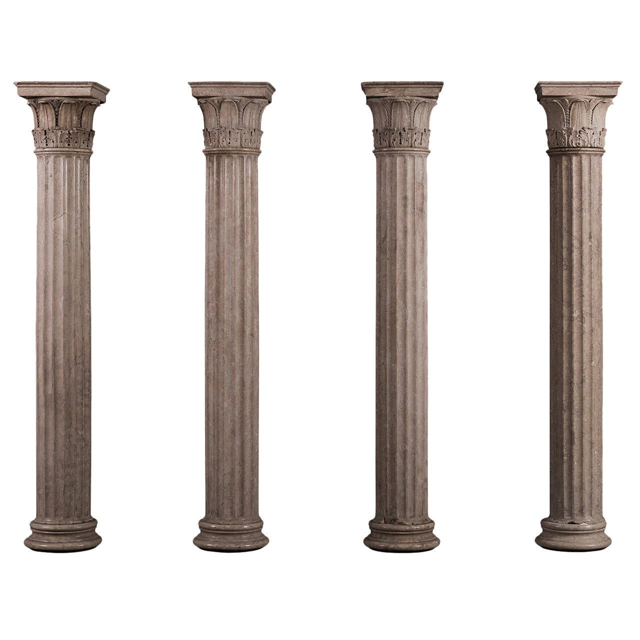 Collection of four neoclassical columns in istrian stone for Premade columns