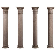 Collection of Four Neoclassical Columns in Istrian Stone
