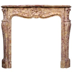 French Louis XV Style Brocatelle Marble Fireplace