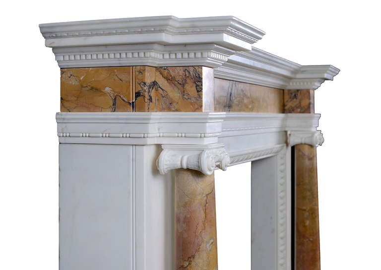 British English George II Siena and Statuary Marble Chimneypiece For Sale