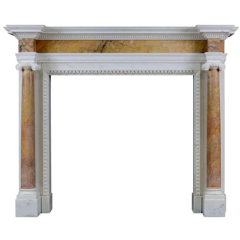English George II Siena and Statuary Marble Chimneypiece For Sale