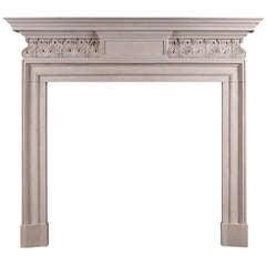 George II Style Portland Stone Fireplace with Carved Frieze