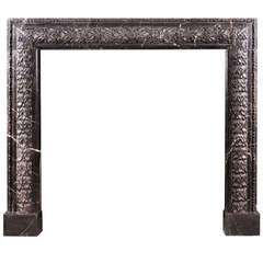 Elegant Carved Bolection Mantel in Nero Marquina Marble