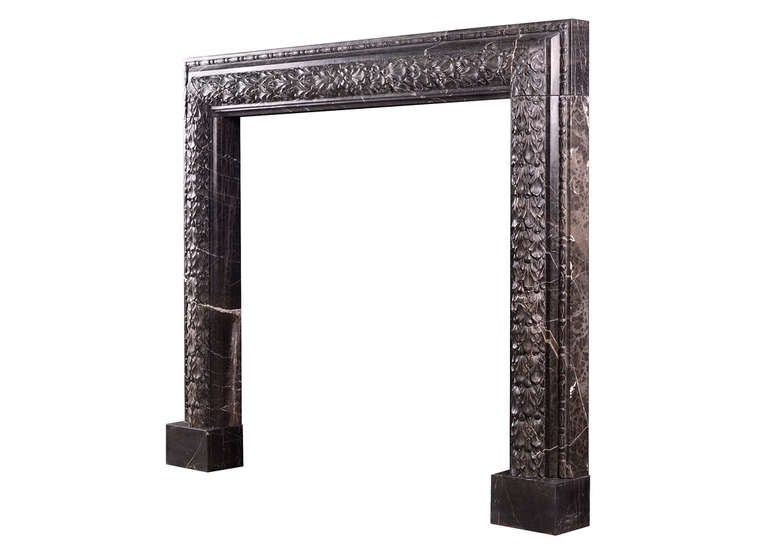 British Elegant Carved Bolection Mantel in Nero Marquina Marble For Sale