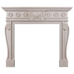 Late Georgian Style Carved Chimneypiece Mantel in White Marble