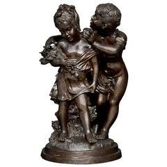 """19th Century Bronze Statue by August Moreau """"Deux Enfants"""""""