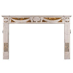 French Louis XVI Style Fireplace in Statuary and Sienna Marble