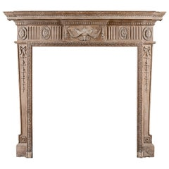 Neoclassical Pine Fireplace with Carved Urn