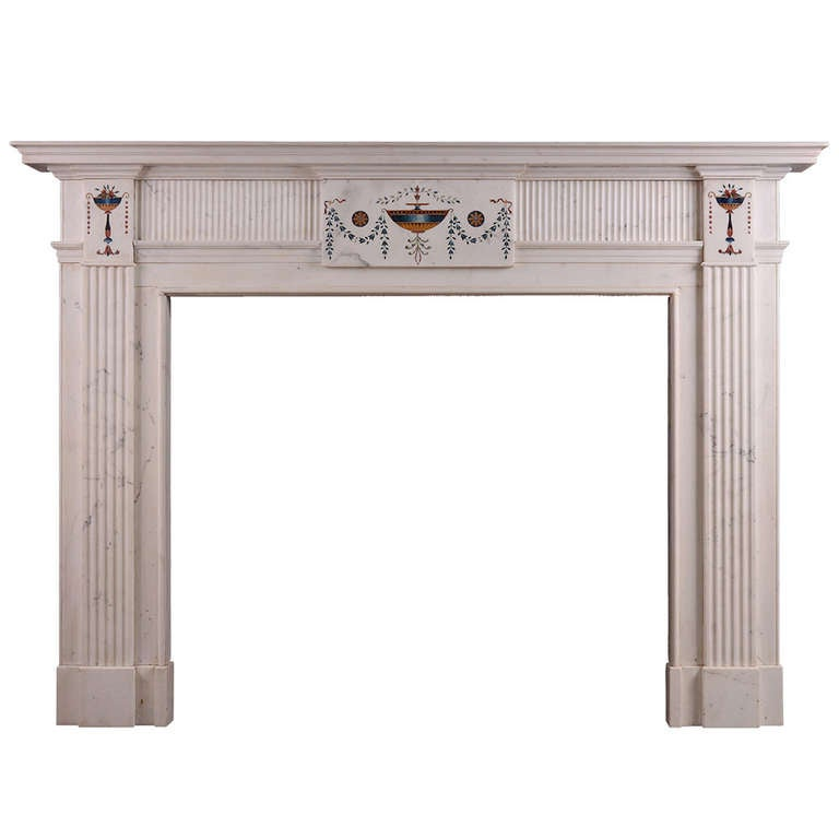 Irish Statuary Marble Fireplace Mantel in the Manner of Pietro Bossi