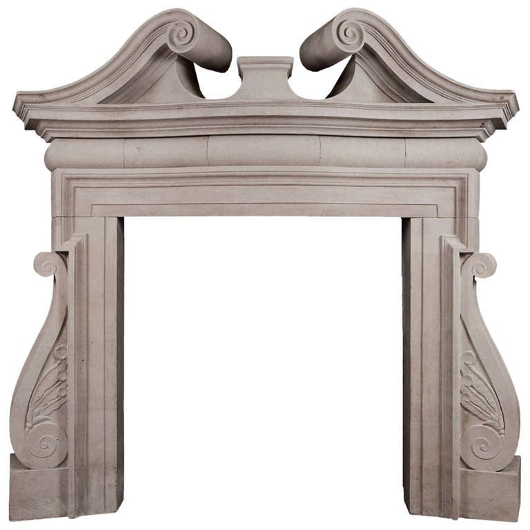 19th Century English Portland Stone Fireplace Mantel in the Palladian Manner
