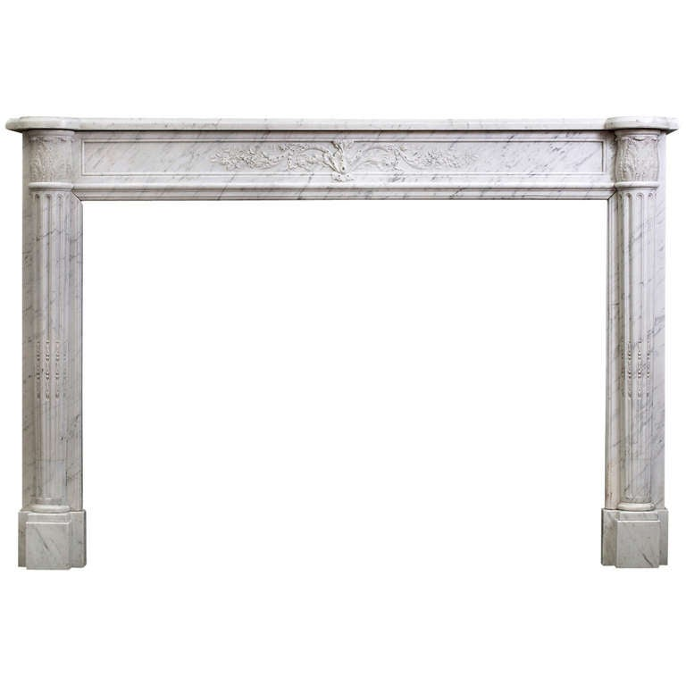 18th Century French Louis XVI Fireplace Mantel in Veined Statuary Marble