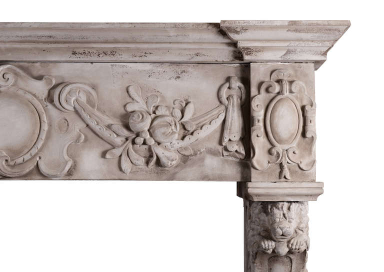 Very Large 19th Century Carved Stone Renaissance Fireplace Mantel In Good Condition For Sale In London, GB