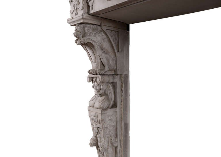 Very Large 19th Century Carved Stone Renaissance Fireplace Mantel For Sale 1